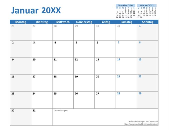 Benutzerdefinierter Kalender für ein beliebiges Jahr