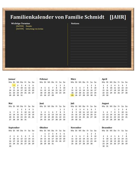 Familienkalender (beliebiges Jahr, Mo–So)