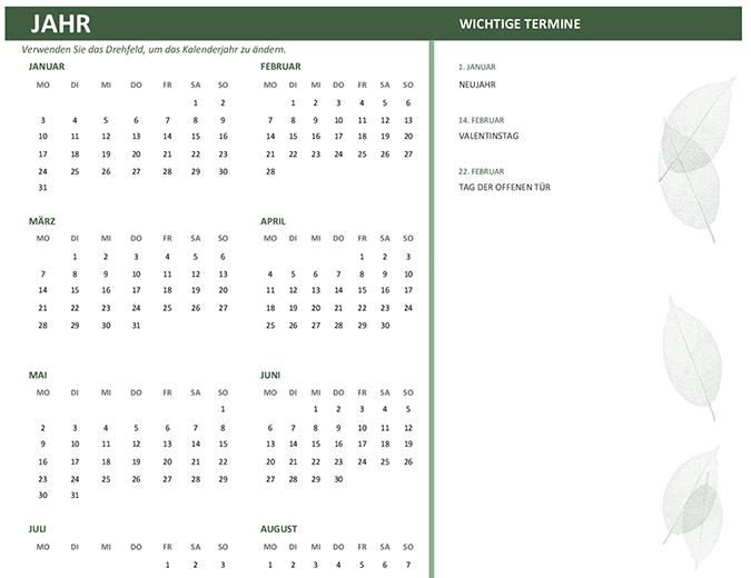 Kalender für Unternehmen (beliebiges Jahr, So-Sa)