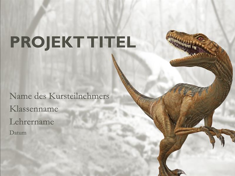 Schulbericht-Präsentation mit Dinosaurier-Modellen
