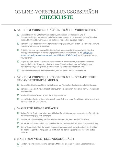 Checkliste für Online-Vorstellungsgespräch