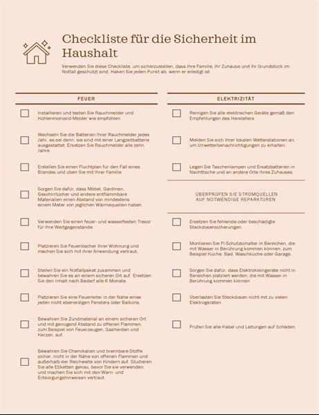 Checkliste für die Sicherheit im Haushalt