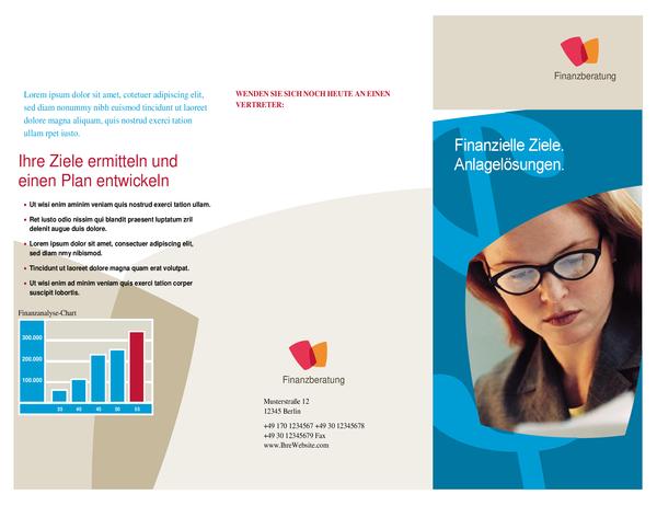 Broschüre für Finanzunternehmen (dreifach gefaltet)