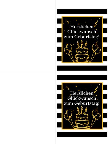 """Geburtstagskarte """"Kuchen und Luftballons"""""""