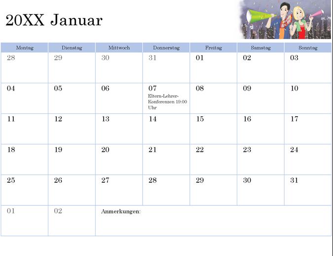 Illustrierter akademischer Kalender