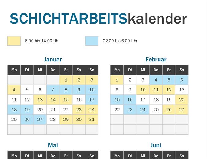 Schichtarbeits-Kalender, das Jahr auf einen Blick