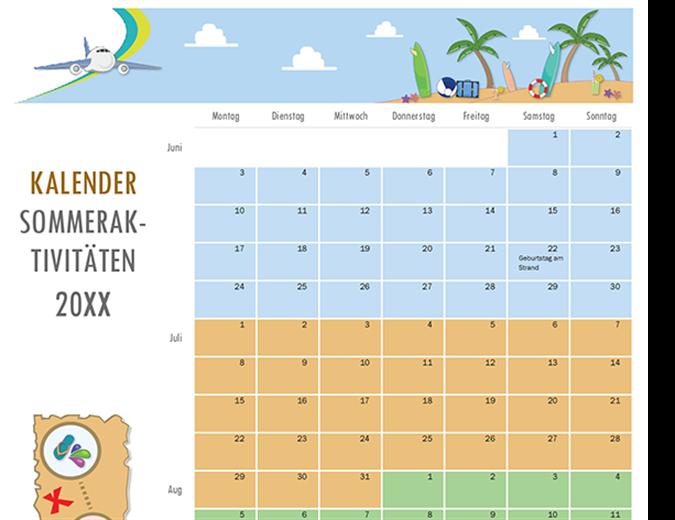 Kalender Sommeraktivitäten