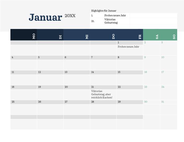 Moderner Kalender mit Highlights