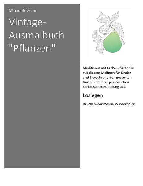 """Vintage-Ausmalbuch """"Pflanzen"""""""