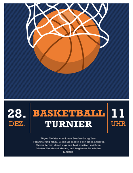Handzettel für Basketball-Turnier