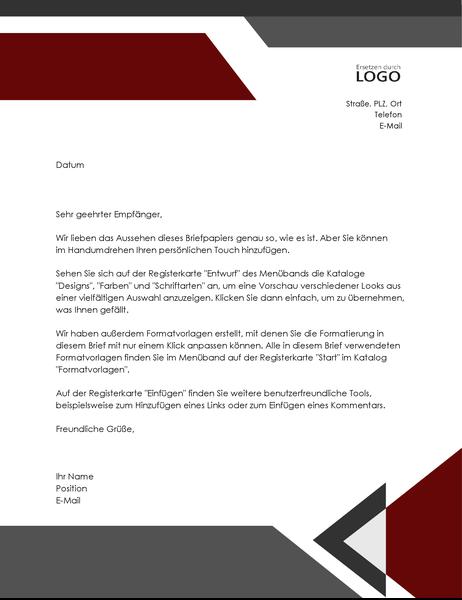 """Briefkopf """"Moderne Winkel"""""""