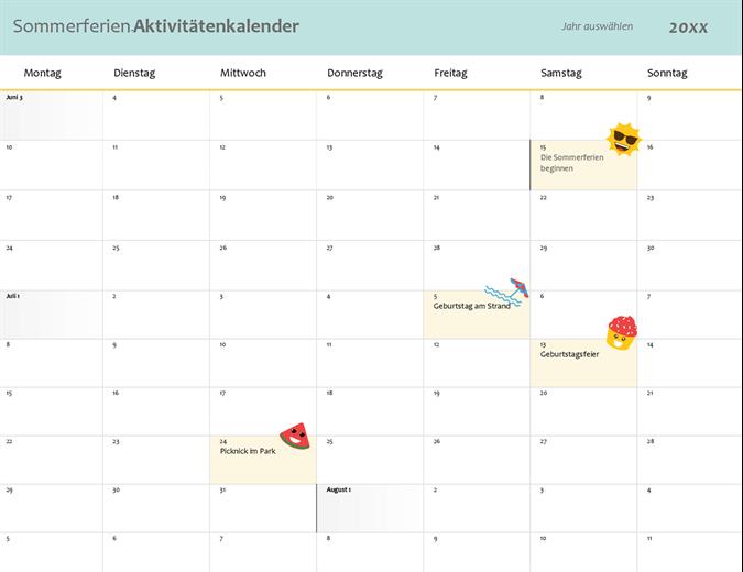 Kalender – Sommerpausen