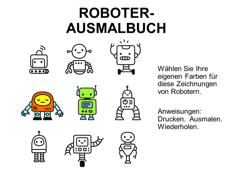 Roboter-Malbuch