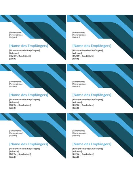 Winkel- und Kurvenetiketten (6 pro Seite)