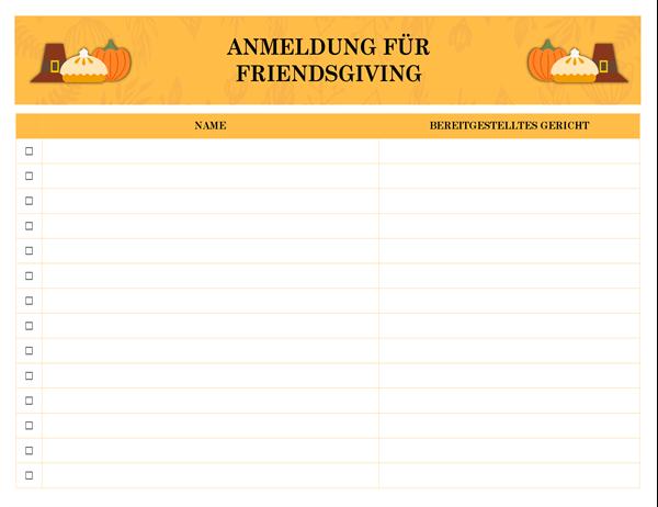 Friendsgiving Anmeldung