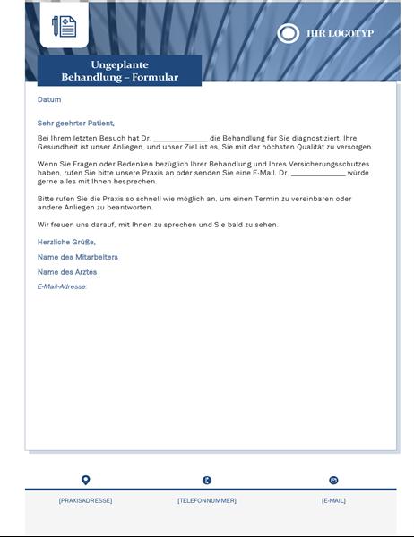 Brief zur ungeplanten Behandlung für das Gesundheitswesen