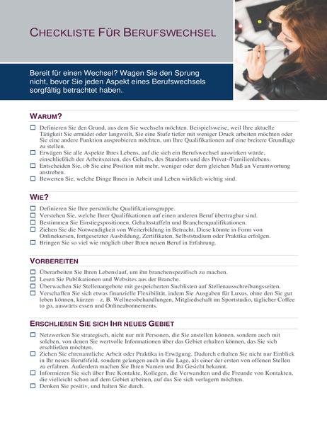 Checkliste für Berufswechsel