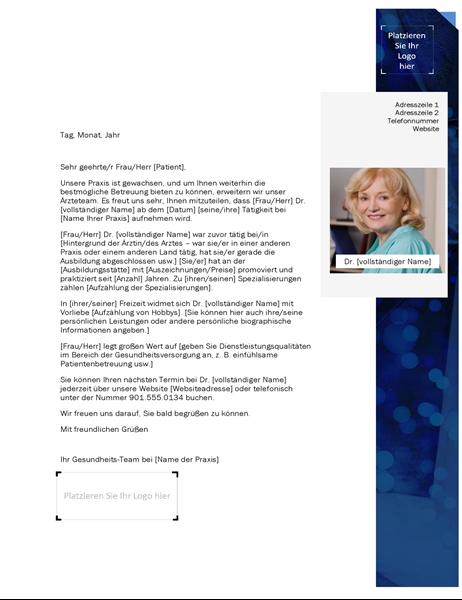 Einführungsschreiben Dienstleister Gesundheitswesen