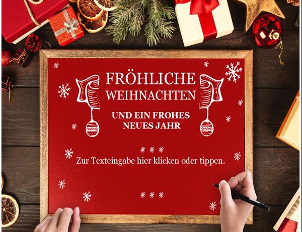 Weihnachtskarte mit Holzrahmen
