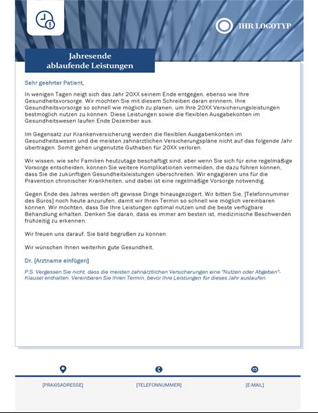 Brief über ablaufende Leistungen für das Gesundheitswesen