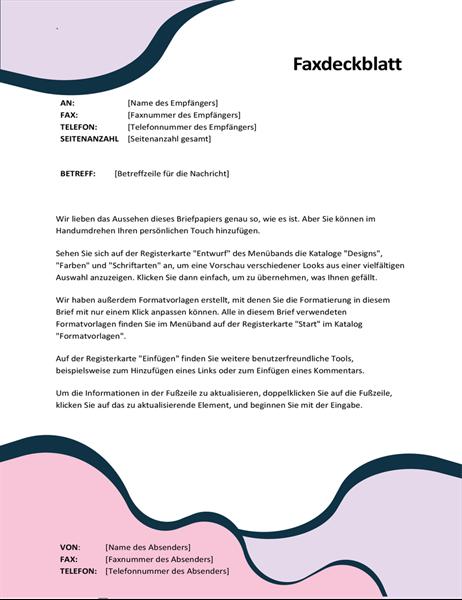 "Faxdeckblatt ""Organische Formen"""