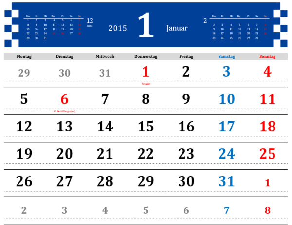 2015 - Schlichter Monatskalender mit Feiertagen (Mo-So)