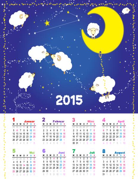 2015 - Jahreskalender (Mo-So) mit Schäfchendesign