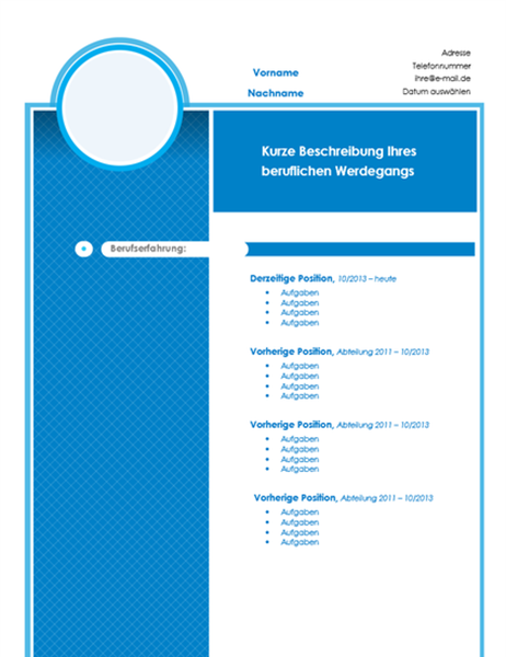 Chronologischer Lebenslauf mit Platzhalter für Foto (blauer Entwurf)