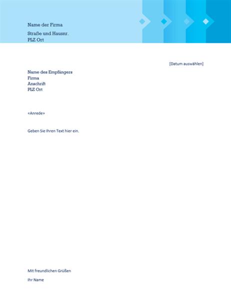 Verkaufsrechnung mit Anschreiben (Blautöne)