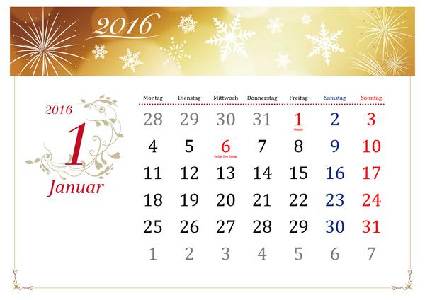 Illustrierter Jahreszeitenkalender für 2016 in elegantem Design (Mo-So)