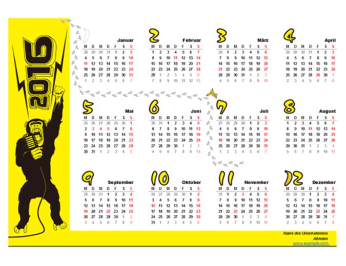Jahreskalender für 2016 mit Feiertagen, Affenmotiv (Mo-So)