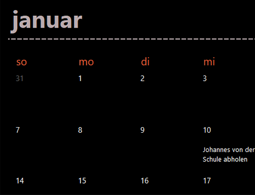 Registerkarten ewiger Kalender (schwarz)