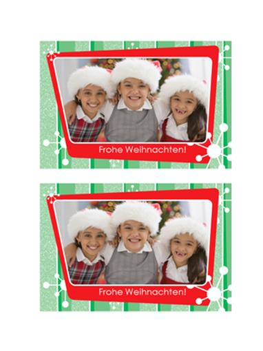 Weihnachtsfotokarte (grüne Streifen, roter Fotorahmen)