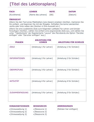 Täglicher Unterrichtsplan