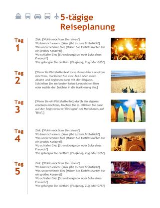 5-tägige Reiseplanung