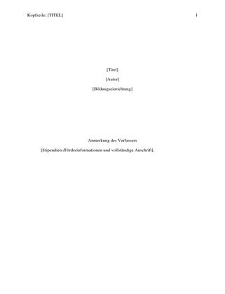 APA Formatvorlagen