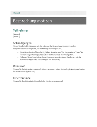 besprechungsnotizen office templates