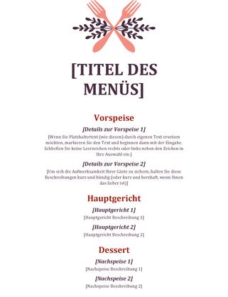 Speisekarte für zwanglose Veranstaltung - Office Templates