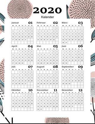 Moderner Kalender für das ganze Jahr mit Blumen