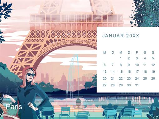 Monatskalendern mit Städtemotiven
