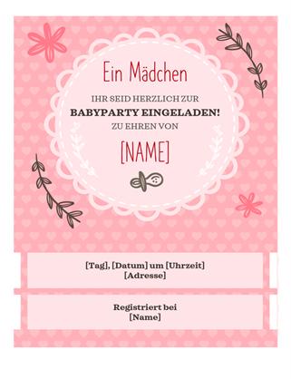Einladung für Babyparty‑Mädchen