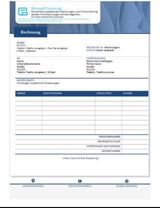 Standardverkaufsrechnung mit Microsoft Invoicing