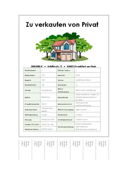 Handzettel für Hausverkauf mit Abrissbereich