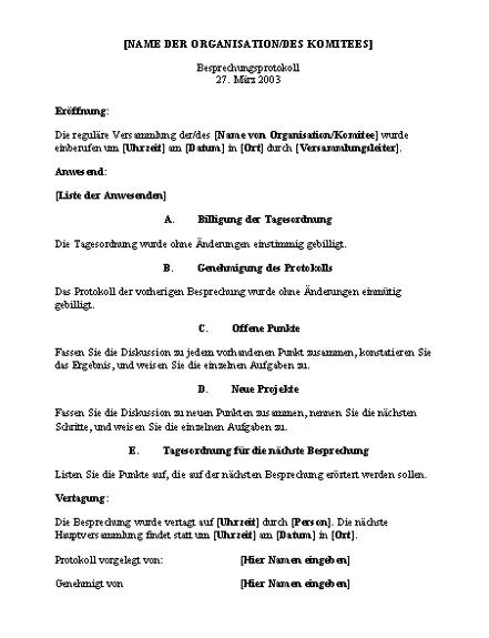 Protokoll für eine Organisationsbesprechung (langes Format)