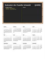 Familienkalender (beliebiges Jahr, Mo-So)