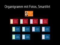 Organigrammfolie mit Fotos (mehrfarbig oder schwarzweiß), Breitbildformat