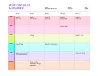 Wöchentliche Zuweisungstabelle (farbig)