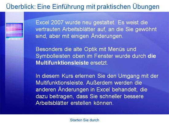Schulungspräsentation: Durchstarten mit Excel2007