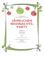 Einladung mit roten und grünen Ornamenten (informelles Design)