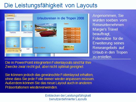 Schulungspräsentation: Entdecken der Leistungsfähigkeit benutzerdefinierter Layouts in PowerPoint2007